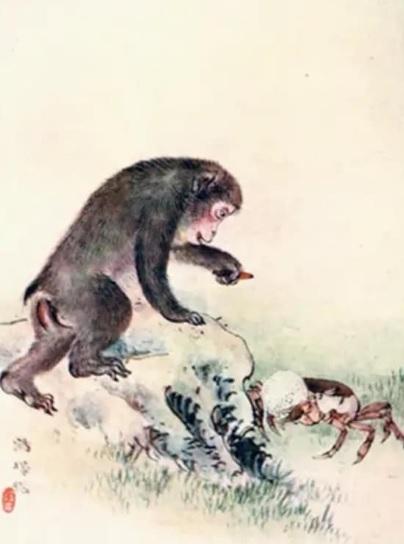La scimmia ingorda dà battaglia al povero granchio.