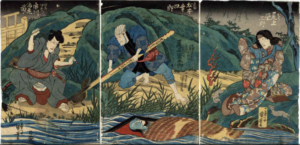 Un'antica stampa con la la vendetta di una donna giapponese in Yotsuya Kaidan