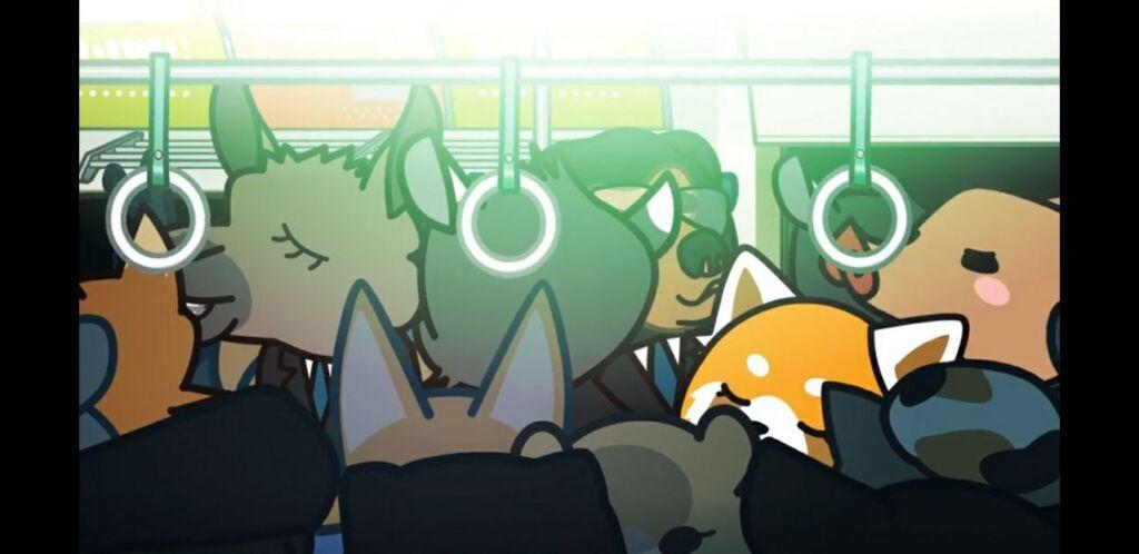Dall'anime: Retsuko si reca a lavoro su una metro affollata