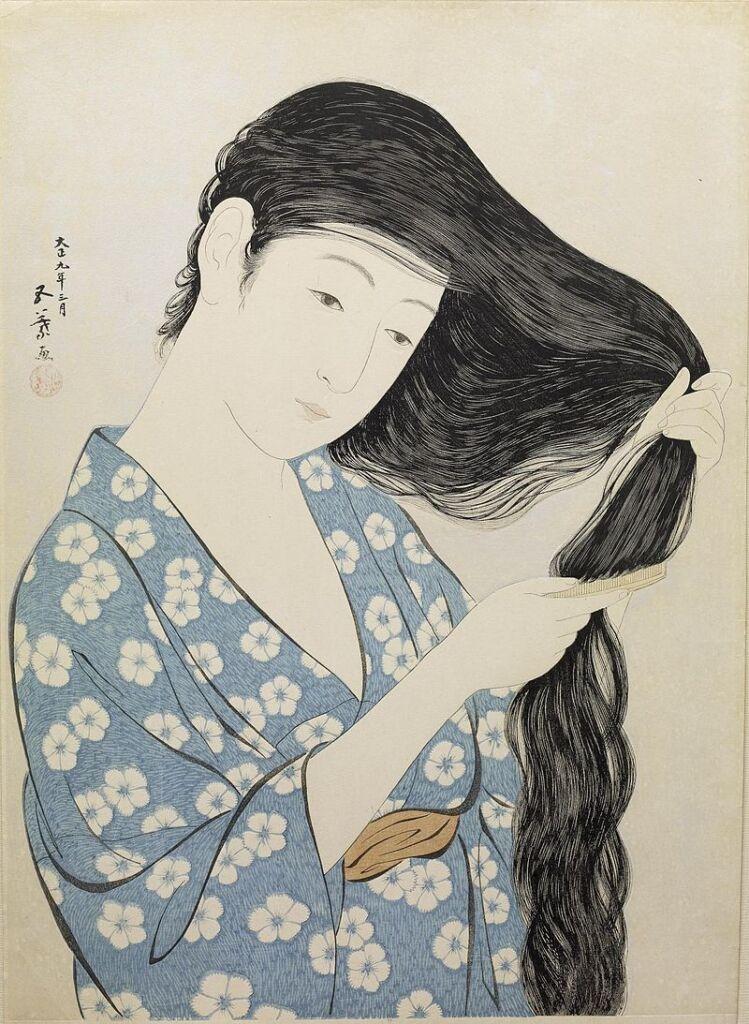 Shin-hanga: Donna in blu che si pettina i capelli (1929) - Hashiguchi Goyo