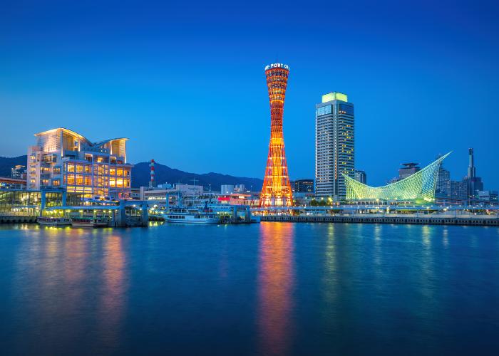 Veduta notturna del porto di Kobe