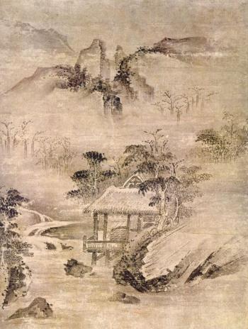 Pittura zen che raffigura un paesaggio