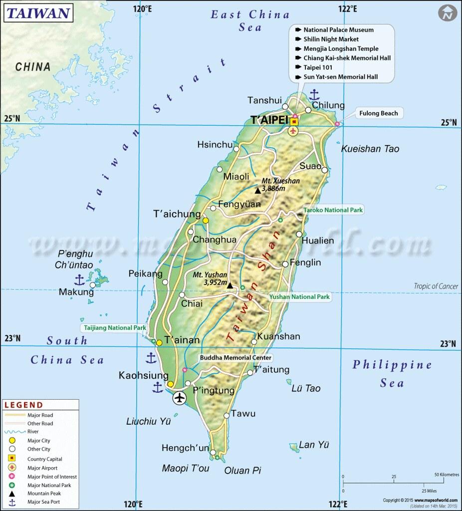 Mappa di Taiwan dopo la guerra Cina Giappone