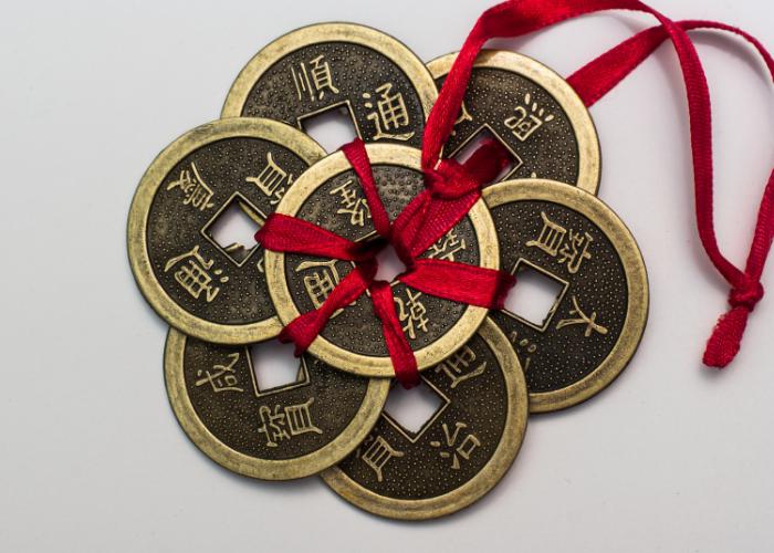 Sette monete fortunate. 7 in Giappone è un numero fortunato per motivi religiosi