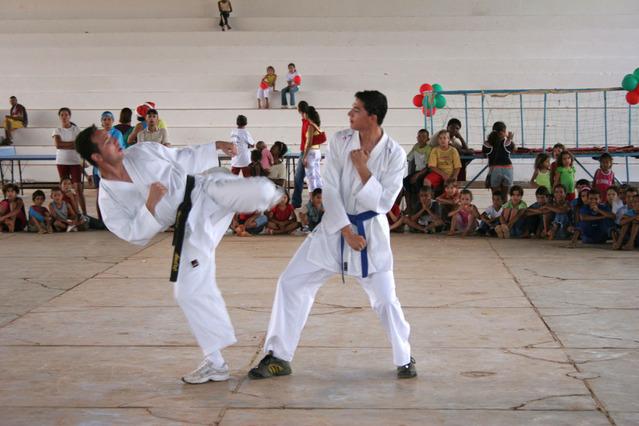 Simulazione combattimento di karate, arte marziale giapponese
